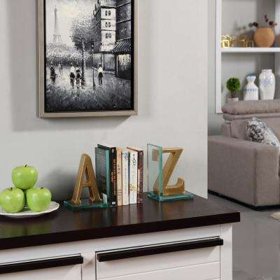 A to Z Gold Glass and Resin Bookends (Set of 2)
