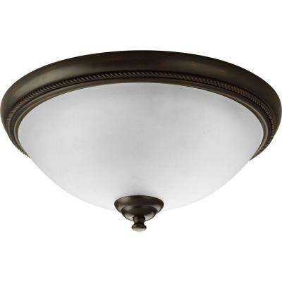 Pavilion Collection 2-Light Antique Bronze Flushmount with Etched Watermark Glass Bowl
