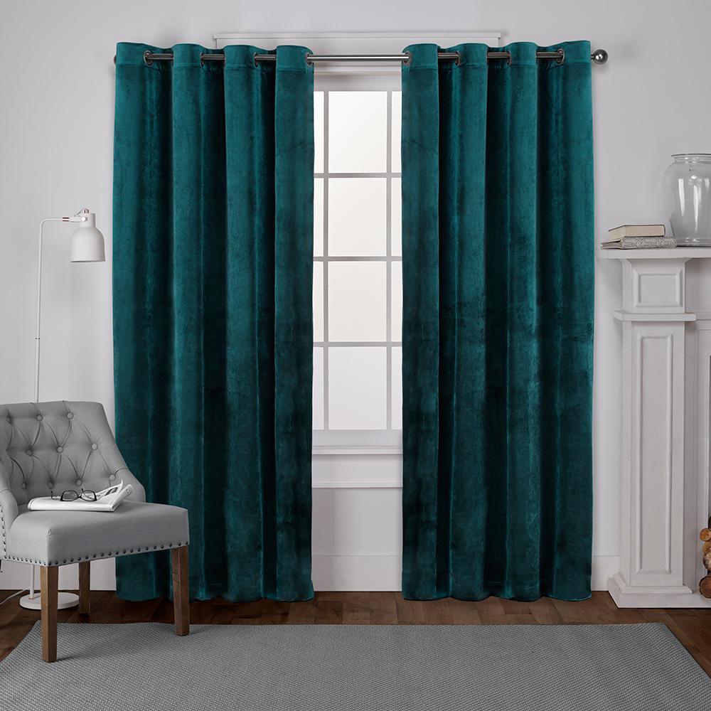 Velvet 54 in. W x 84 in. L Velvet Grommet Top Curtain Panel in Teal (2 Panels)