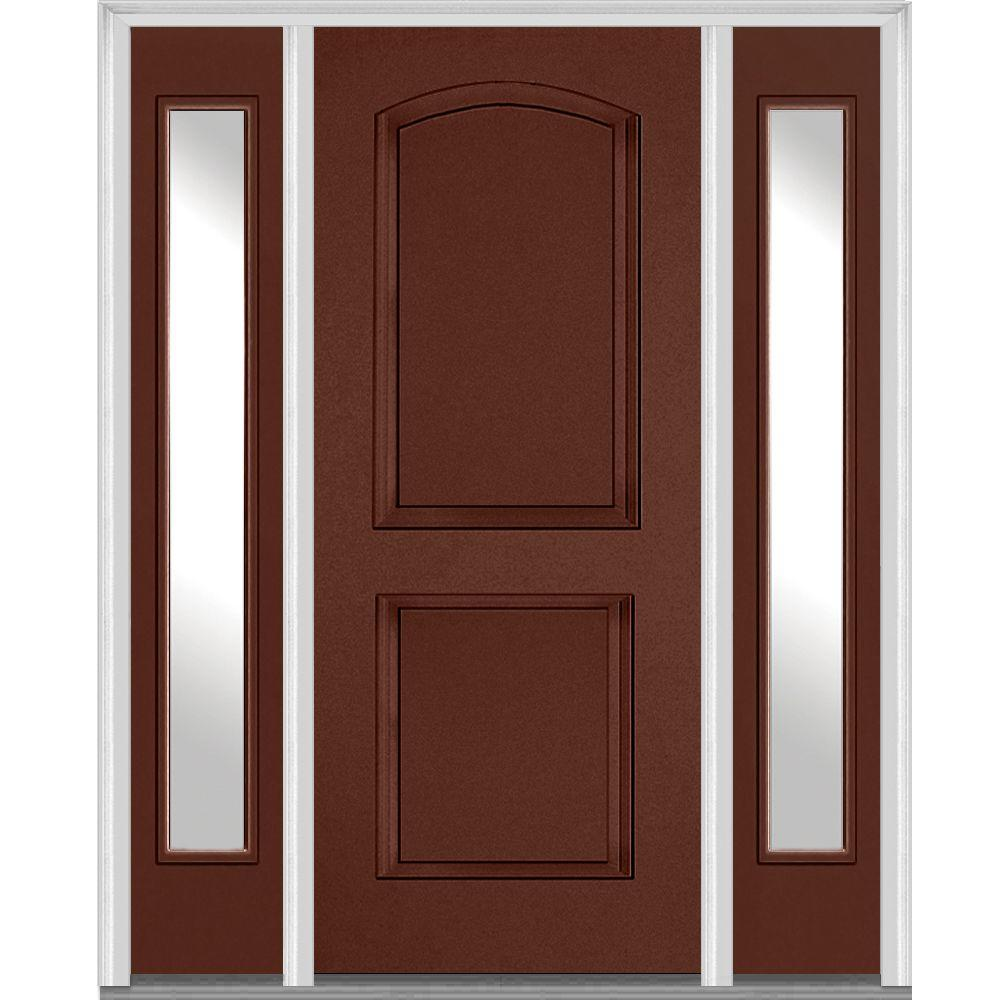 Mmi Door 68 5 In X In Left Hand Clear 2 Panel Archtop Painted Fiberglass Smooth Exterior