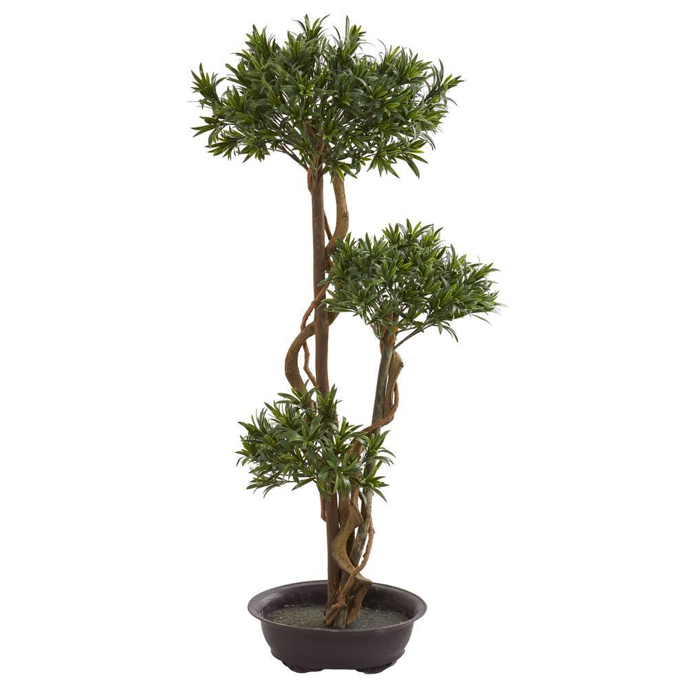 Indoor 46 in. Bonsai Styled Podocarpus Artificial Tree