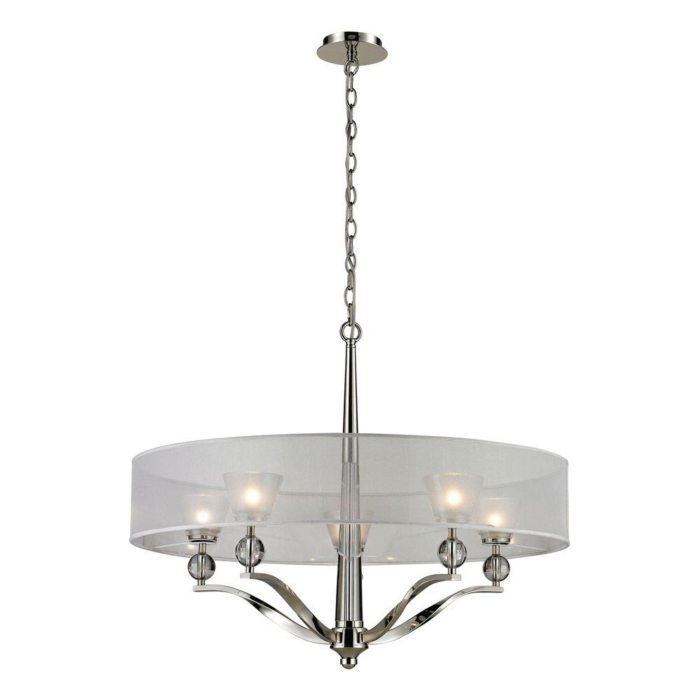 Corisande 5-Light Polished Nickel Chandelier With Silver Organza Shade