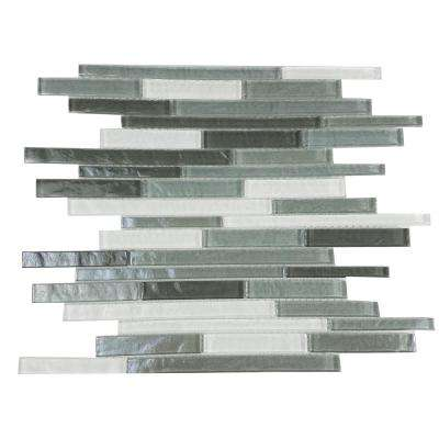 Geo Whistler Gray Mix 11.75 in. x 15.25 in. x 7.87 mm Glass Mosaic Tile