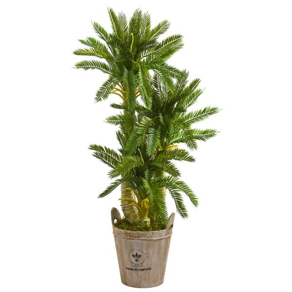 Nearly Natural Indoor 4-Ft. Triple Cycas Artificial Plant in Farmhouse Planter