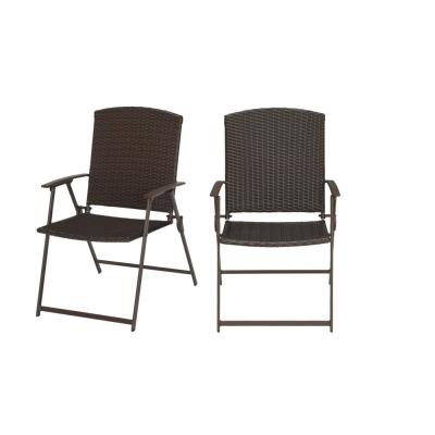 Mix and Match Folding Wicker Steel Outdoor Patio Dining Chair in Dark Taupe (2-Pack)