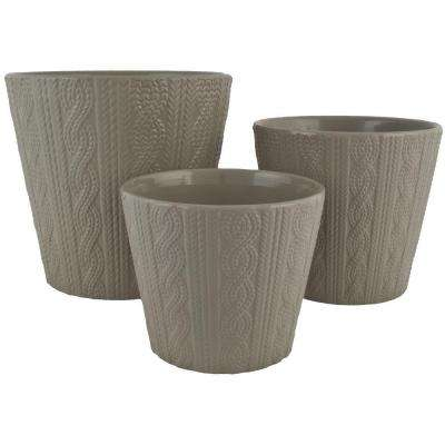 Knit 6.5 in. Dia, 5.5 in. Dia and 4.5 in. Dia Gray Ceramic Pot (Set of 3)