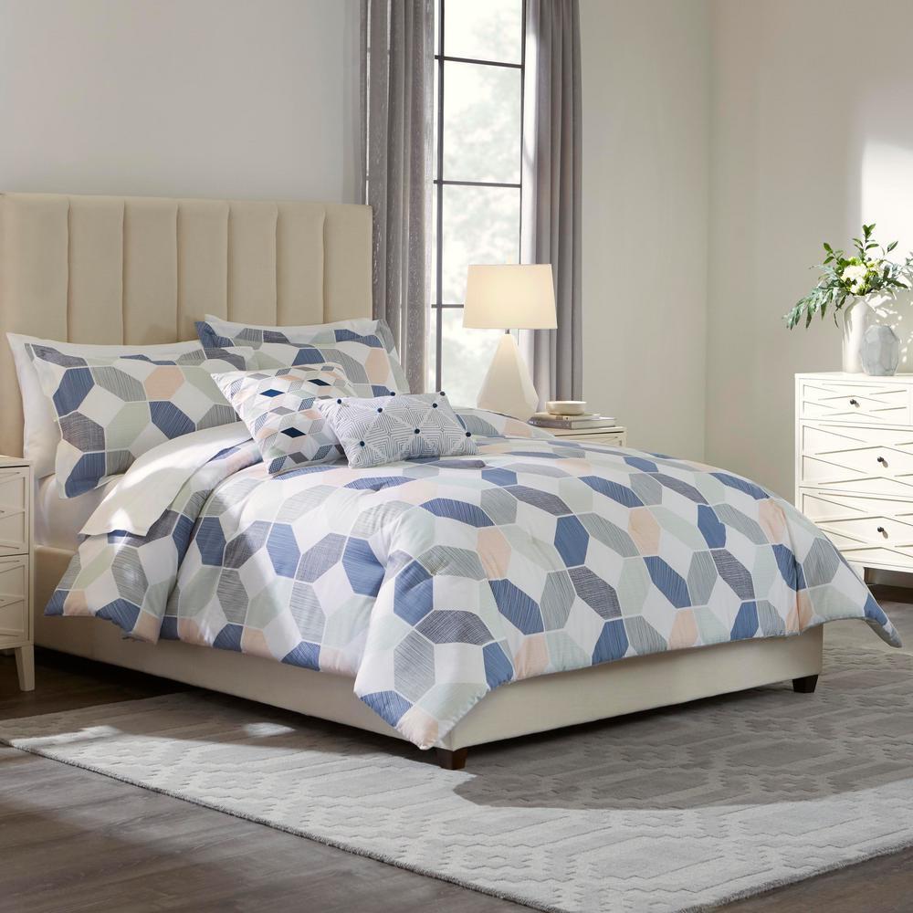 Pratt 5-Piece Reversible Geometric Full Comforter Set