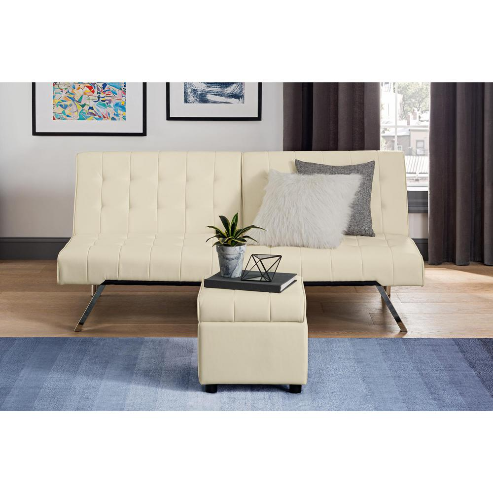DHP Emily Vanilla Faux Leather Square Storage Ottoman-2163109 - The ...