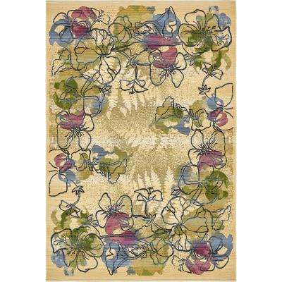 Outdoor Pansy Ivory 5' 3 x 8' 0 Area Rug
