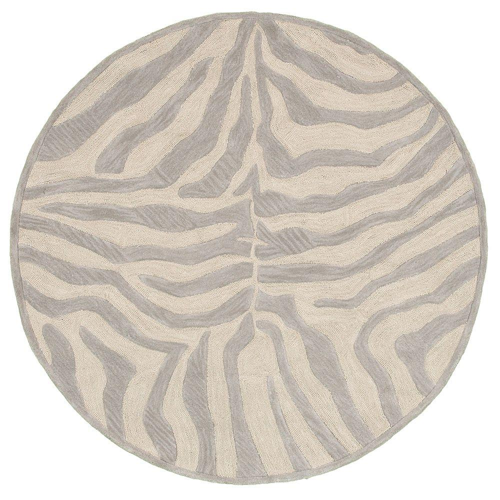 LR Resources Fashion Taupe/Silver Zebra 3 ft. x 3 ft. Plush Round Indoor Area Rug was $54.42 now $40.82 (25.0% off)