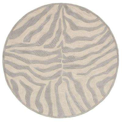 Fashion Taupe/Silver Zebra 3 ft. x 3 ft. Plush Round Indoor Area Rug