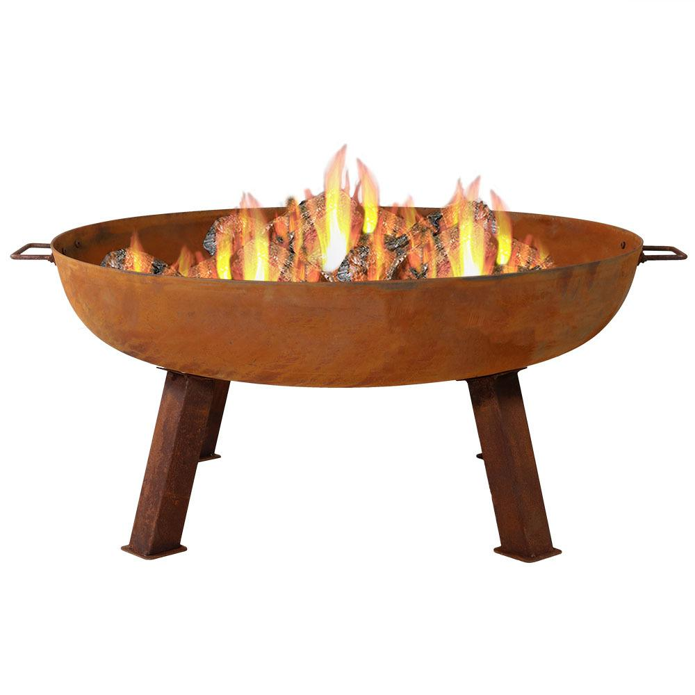 Sunnydaze Decor Rustic 34 in. x 15 in. Round Large Cast Iron Wood-Burning Fire Pit Bowl