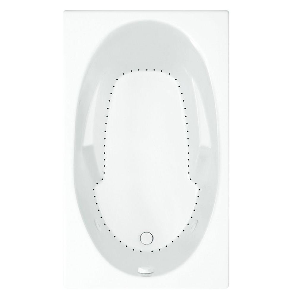 Aquatic Davenport 5 ft. Reversible Drain Acrylic Air Bath Tub in White