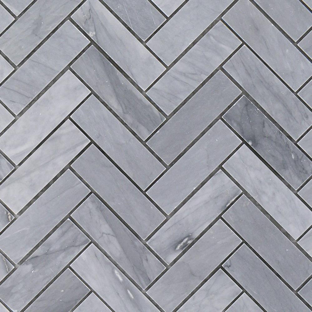 Stowe Gray Herringbone 11 in. x 12 3/4 in. Marble Mosaic Tile (0.97  sq. ft.)