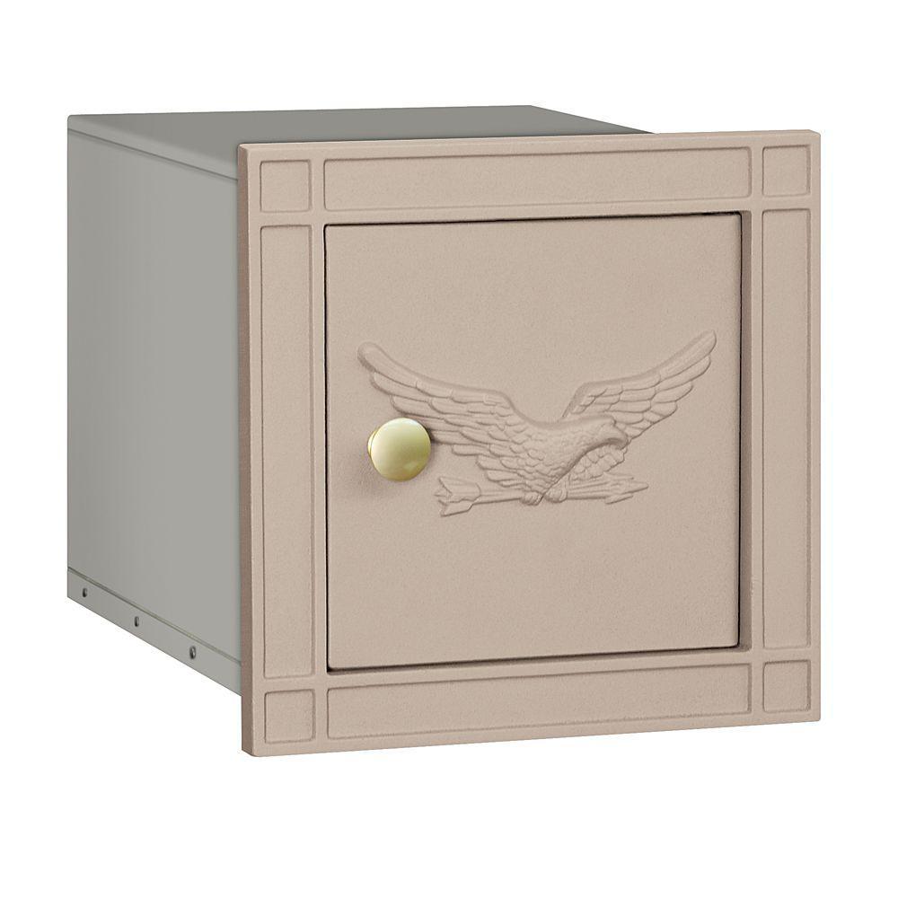 4100 Series 11.5 in. W x 11.5 in. H x 15.75 in. D Beige Non-Locking Eagle Door Cast Aluminum Column Mailbox