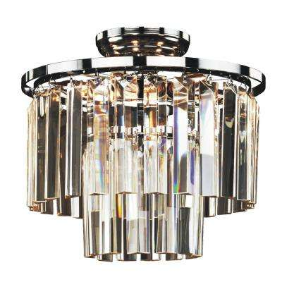 Timeless 6-Light Tri-Cut Glass and Chrome Frame Flush Mount