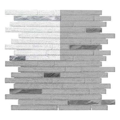 Ice Pencil 3 in. x 6 in. x 8 mm Glass/Metal Mosaic Tile Sample