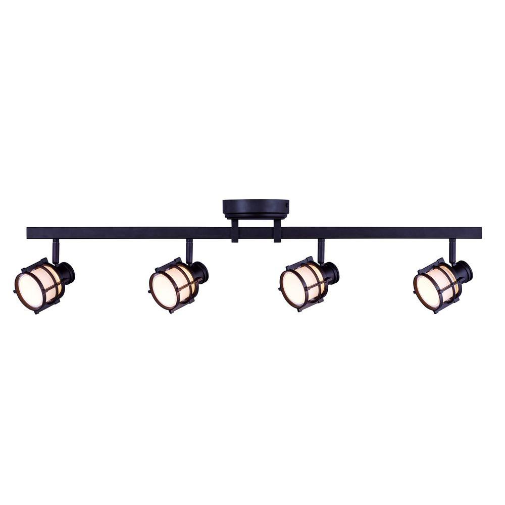 Hampton Bay 4 Light Antique Bronze Directional Led Track Lighting With Round White Gl Shades