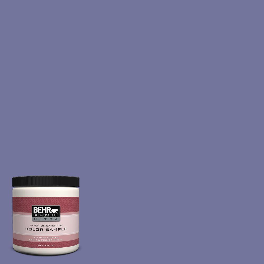 BEHR Premium Plus Ultra 8 oz. #630D-6 Palace Purple Flat Interior/Exterior Paint and Primer in One Sample