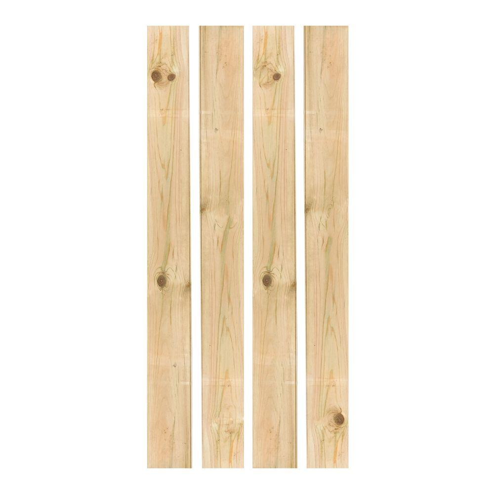 Outdoor Essentials 1 in. x 6 in. x 5 ft. Tongue-and-Groove Pine Flat Top Fence Picket (4-Pack)