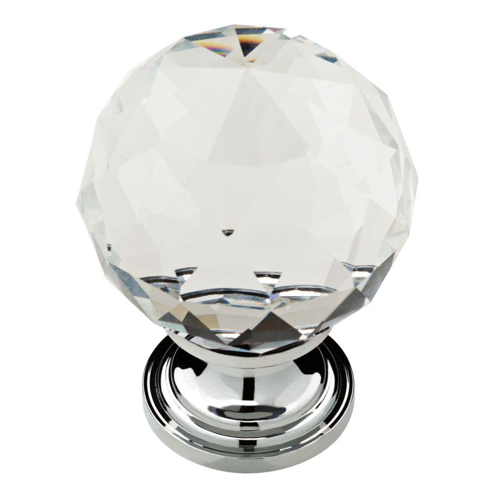 Chrome With Clear Faceted Glass Ball Cabinet Knob