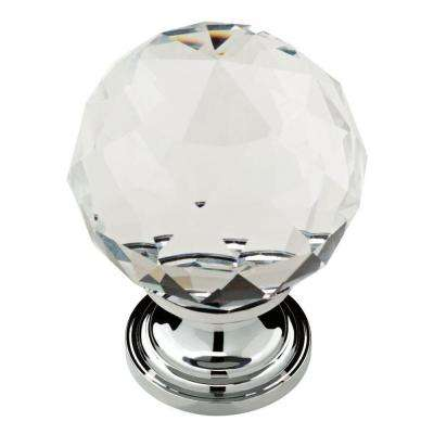 Faceted Glass 1-3/16 in. (30mm) Chrome and Clear Cabinet Knob