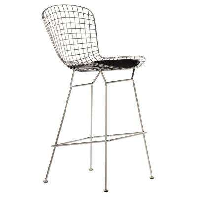 James 29.5 in. Chrome Bar Stool with Back