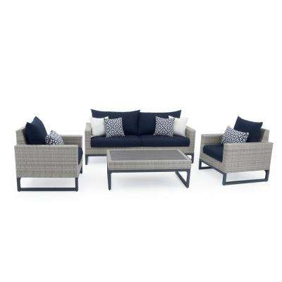 Milo Grey 4-Piece Wicker Patio Deep Seating Conversation Set with Sunbrella Navy Blue Cushions