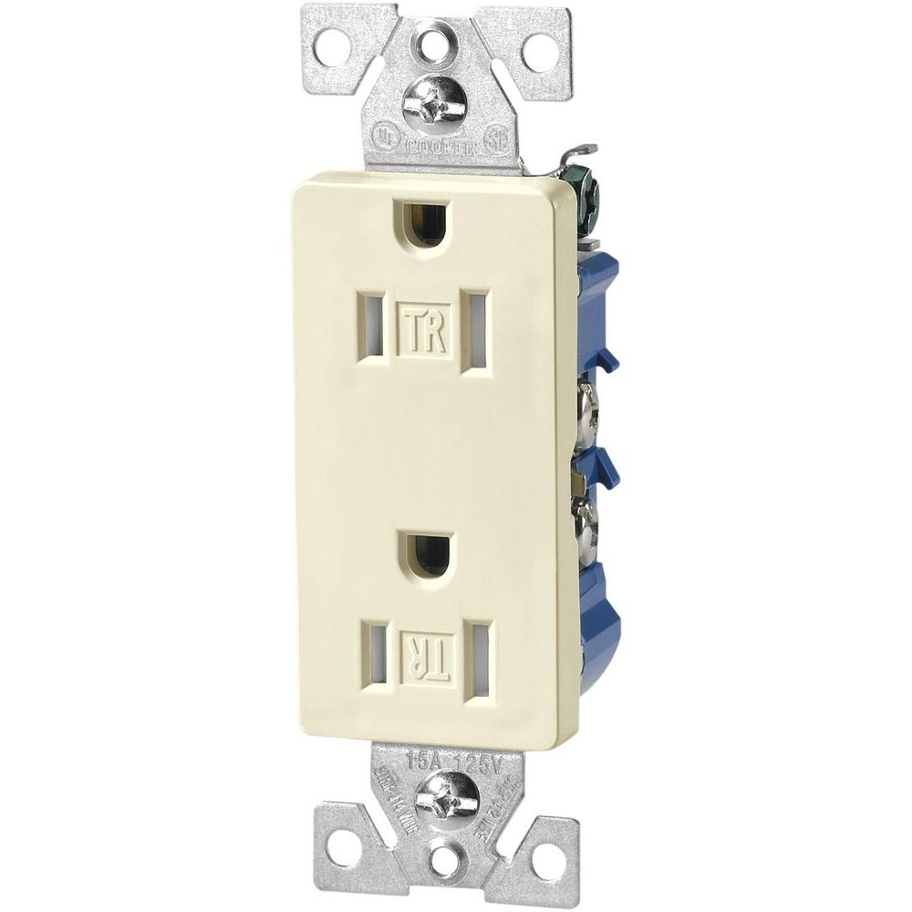 Ungrounded Almond Electrical Outlets Receptacles Wiring A 2 Gang Switch Box Standard Grade 15 Amp Decorator Duplex Receptacle With Side And Push