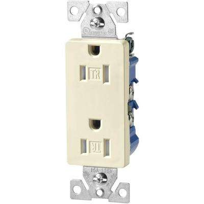 15 Amp Tamper Resistant Decorator Duplex Outlet Receptacle with Side and Push Wire, Light Almond