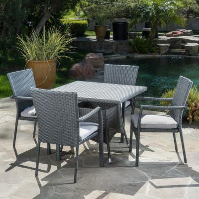 Campbell Grey 5-Piece Wicker Outdoor Dining Set with Grey Cushions