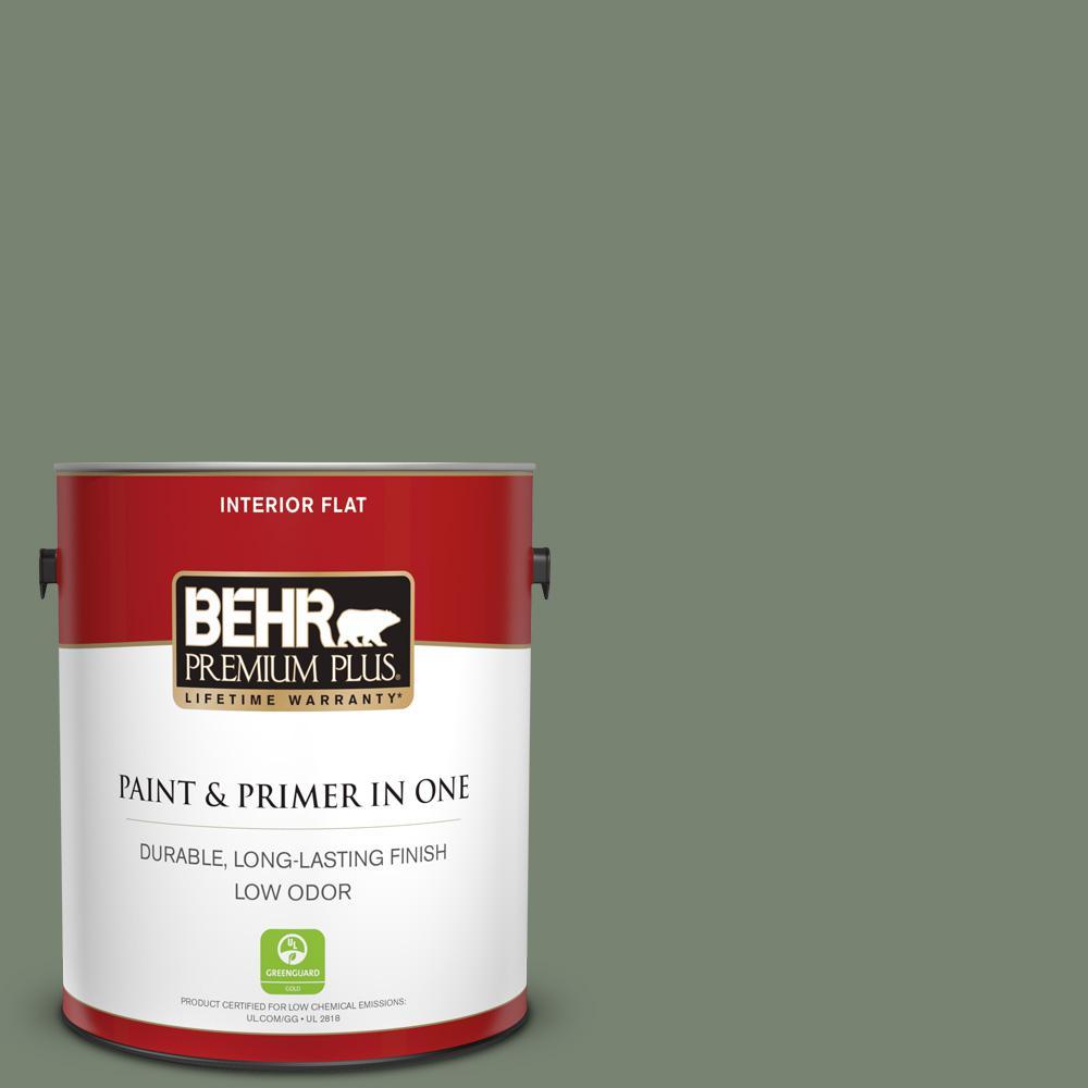 Behr Premium Plus 1 Gal Icc 77 Sage Green Flat Low Odor Interior