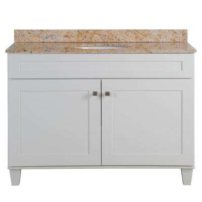 Lansbury 49 in. W x 22 in. D x 36 in. H Vanity in White with Stone Effects Vanity Top in Tuscan Sun with White Sink