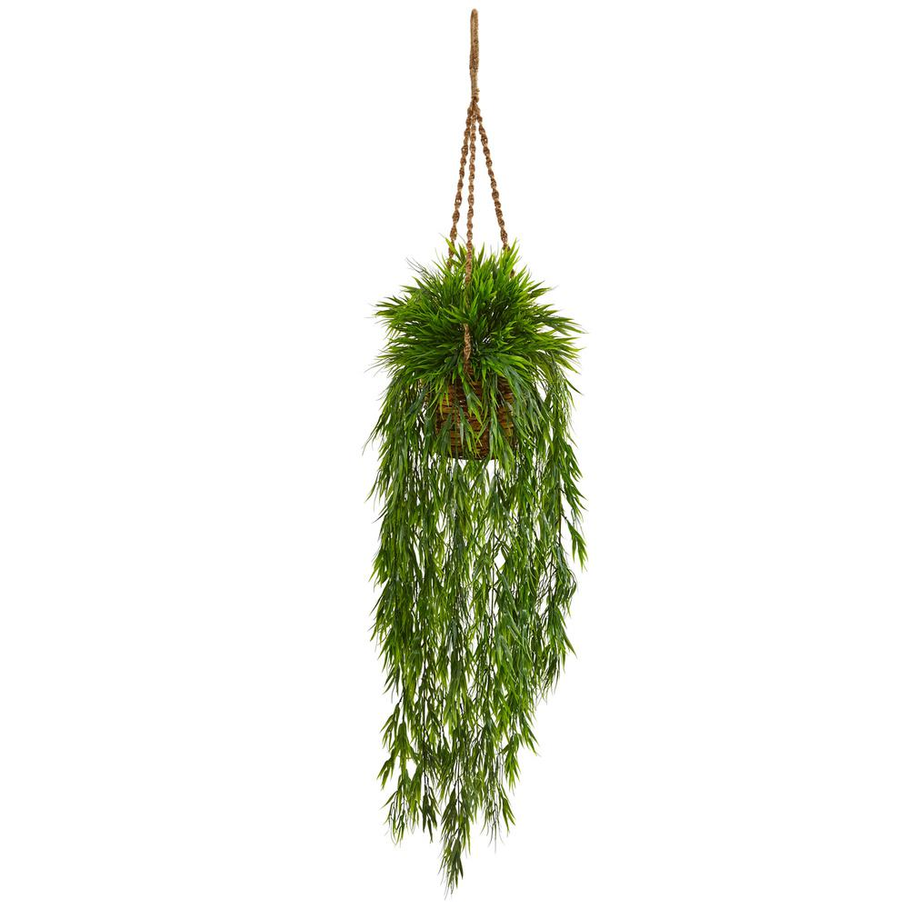 nearly natural indoor mini bamboo artificial plant hanging basket