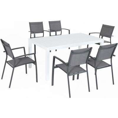 Palermo 7-Piece Aluminum Outdoor Dining Set with 6-Sling Chairs in Gray and a 78 in. x 40 in. Dining Table