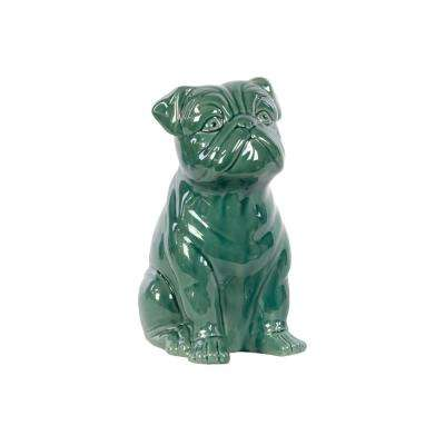 10 in. H Dog Decorative Figurine in Turquoise Gloss Finish