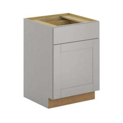 Princeton Shaker Assembled 24x34.5x24 in. Base Cabinet with Soft Close Drawer in Warm Gray