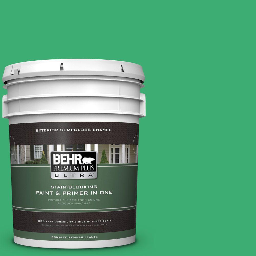 5-gal. #460B-5 Fresh Greens Semi-Gloss Enamel Exterior Paint