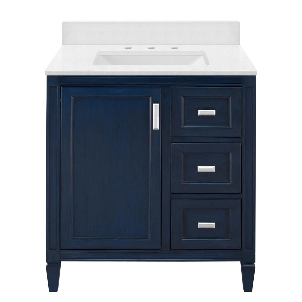 Home Decorators Collection Channing 31 in. W x 22 in. D Bath Vanity in Royal Blue with Engineered Marble Vanity Top in Snowstorm with White Sink