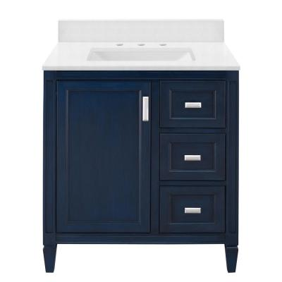 Channing 31 in. W x 22 in. D Bath Vanity in Royal Blue with Engineered Marble Vanity Top in Snowstorm with White Sink