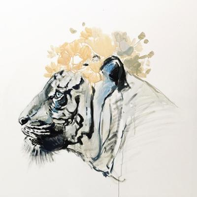 """40 in. x 40 in. """"White Tiger"""" by Milo Printed and Painted Canvas Wall Art"""