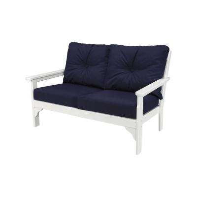 Vineyard White Plastic Patio Patio Outdoor Loveseat with Sunbrella Navy Cushions