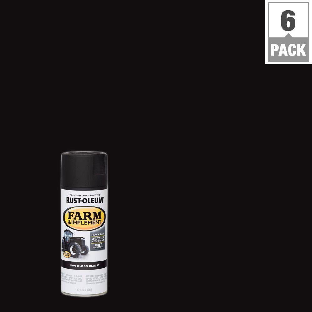 12 oz. Farm Equipment Low Gloss Black Enamel Spray Paint (6-Pack)