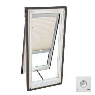 21 in. x 37-7/8 in. Venting Deck-Mount Skylight, Laminated LowE3 Glass, Classic Sand Solar Powered Light Filtering Blind