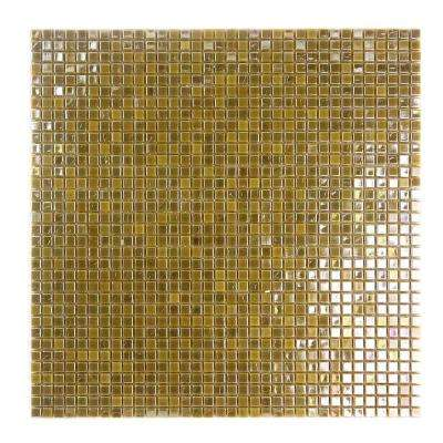 Galaxy Saturn Gold Square Mosaic 0.3125 in. x 0.3125 in. Iridescent Glass Wall Tile (0.98 Sq. ft.)
