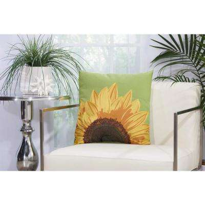 Embroidered Sunflower 18 in. x 18 in. Green Indoor and Outdoor Pillow