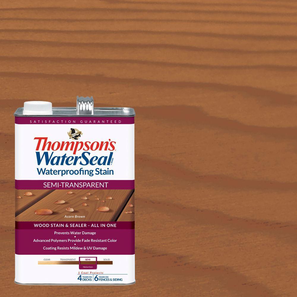 Thompson's WaterSeal 1 gal. Semi-Transparent Acorn Brown Waterproofing Stain Exterior Wood