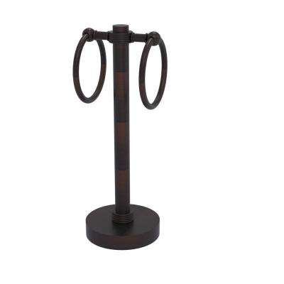Vanity Top 2 Towel Ring Guest Towel Holder with Groovy Accents in Venetian Bronze