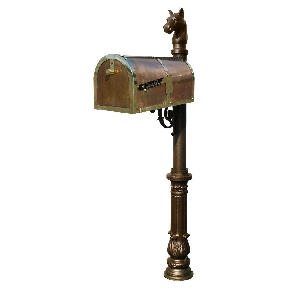 QualArc Polished Brass Post Mount Mailbox with Lewiston Post System