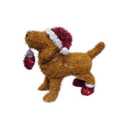 12 in. Christmas 3D Table Top Brown Dog with Santa Hat, Red Shoes and ornament
